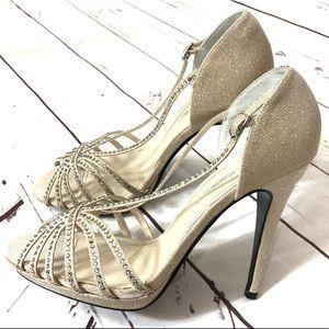 Caparros Ivory Blush Sequin Open Toe Heels 10 B